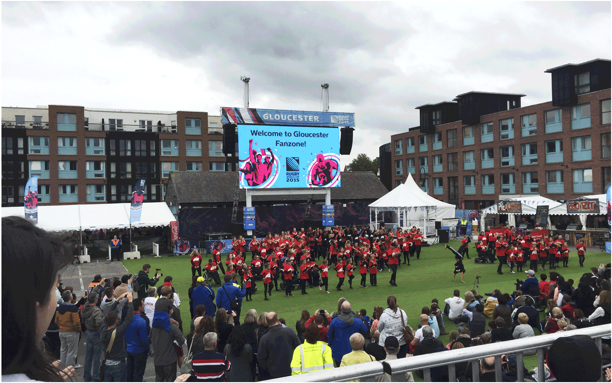 Desay 6mm Indoor/Outdoor LED Screen provided by Production AV for the Rugby World Cup Fanzone in Gloucester