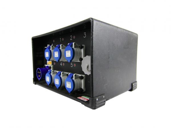 32A 1ph Distro - 6 x16A, 1 x Soca - MicroTile LED Distro Alt Angle
