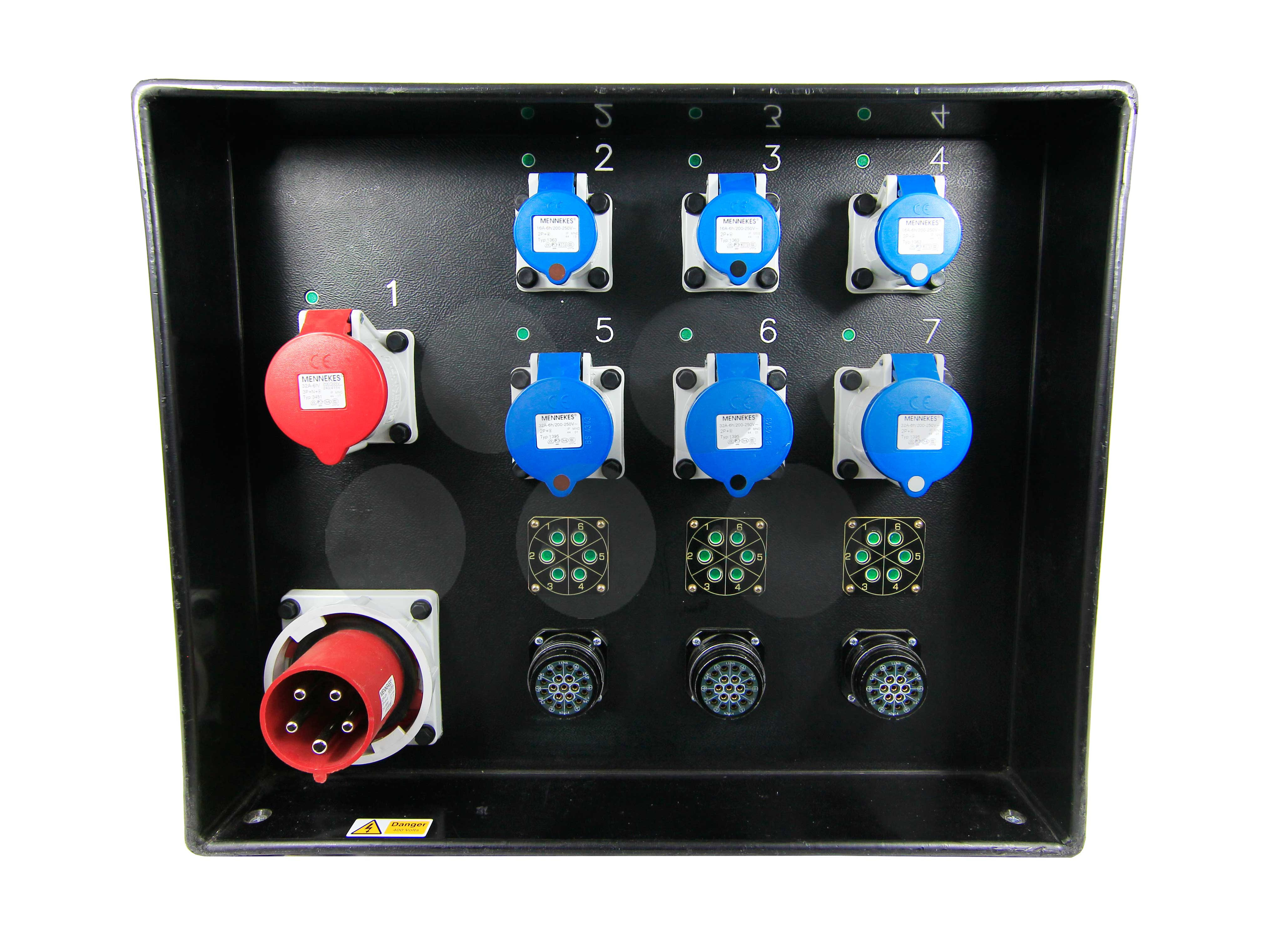 63A 3ph Distro - 3 x Soca, 1 x 32A 3ph, 3 x 32A, 3 x 16A - LED PDU