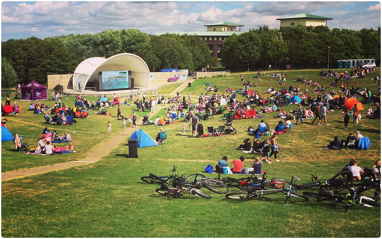 MK Campbell Park 6mm Outdoor LED Cinema Screen Wideshot