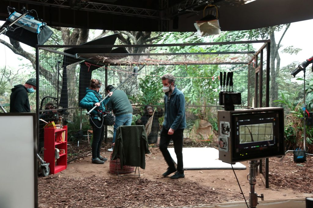 BTS image showing filming in progress on the Virtual Production work for Lucy The Human Chimp